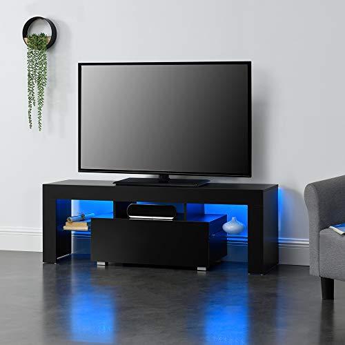 [en.casa] LED-Fernsehtisch 130 x 35 x 45 cm TV Lowboard mit Schublade Glasablage Spanplatte Schwarz