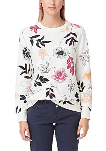 s.Oliver Damen 14.908.41.2802 Sweatshirt, Beige (Creme Floral Print 02c5), (Herstellergröße: 46)