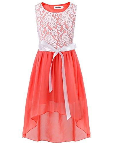 iEFiEL Big Girls Kids Lace Flower High Low Chiffon Dress Wedding Bridesmaid Gown Coral Pink 8