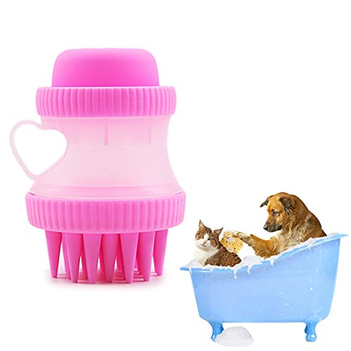 Pet Bath Massage Brush Creative Multi-function PP + Silicone With Bath Foam Storageing Removing Tangle Knots For Long And Short Hair Dog And Cat Soft Silicone Washable Cat Grooming Shedding Massage/Ba