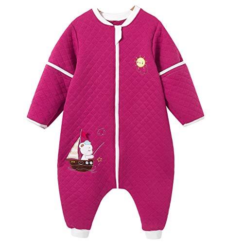 ganzjährig schlafsack baby mit Füßen für Junge und Mädchen winter kinder Overalls/Jumperin 2.5 Tog (12/24monate, Rose Red Hund)