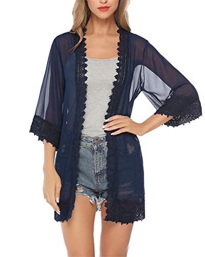 Hawiton Damen Chiffon Floral Kimono - Leicht Sommer Cardigan Boho Strand Kimono Florale Tops Chiffon Shawl Bluse Beachwear Bikini Cover up