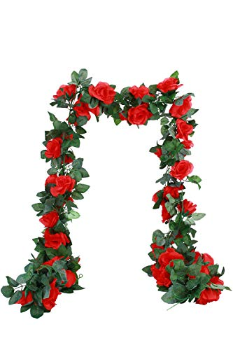 MARTHA&IVAN 3 Strands Artificial Rose Garland Fake Rose Vine Faux Hanging Flower Garland for Wedding Arch Backdrops Home Decor (Red, 3)