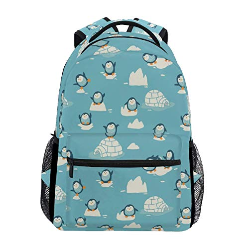 College Bag Penguin Ice Stylish Travel Shoulder Bag Bookbag School Backpack Durable Lightweight Printed Casual College Unique Gift Student