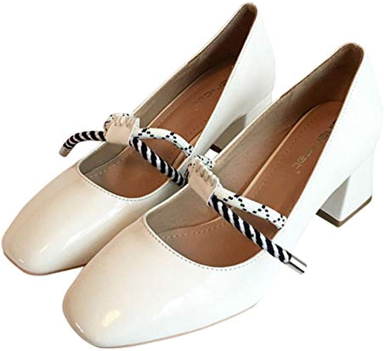 Meimeioo Women Mary Jane Pumps - Cute Square Toe Comfortable Chunky Block Pumps Heels