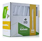 [300 Pack] Heavyweight Disposable Clear Plastic Knives