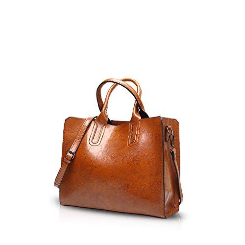 NICOLE&DORIS Mode Damen Handtaschen Umhängetasche Schultertaschen Henkeltaschen Tasche Tote Wasserdicht PU Braun