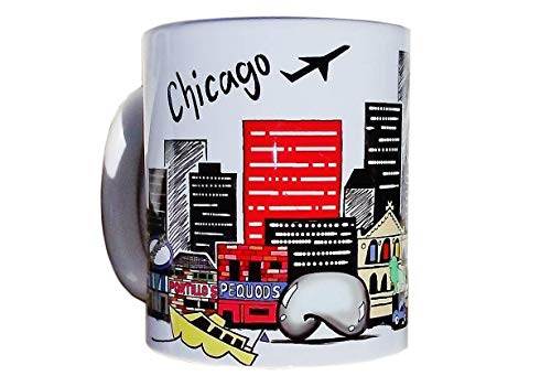 CHICAGO Landmark Skyline Coffee Mug - Wrigley Field - Cloud Gate - Long Distance Relationship - Illinois Gift