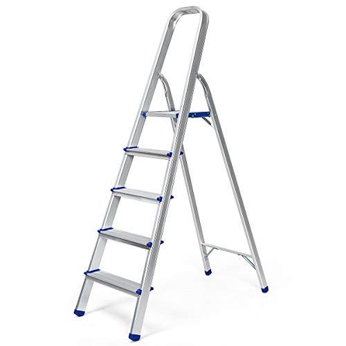 COSTWAY Trittleiter, Leiter aus Aluminium, Stehleiter Klappbar, Haushaltsleiter Klappleiter Mehrzweckleiter, Belastbarkeit 150 kg, Silbrig (5 Stufen)