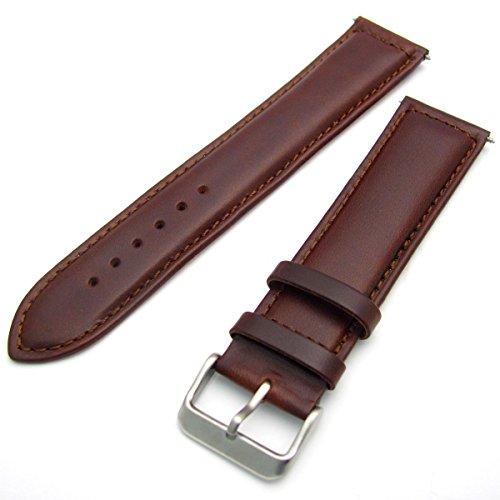Sorrento Uhrenarmband Italienisches Gepolstertes Kalbsleder XL - Extra-Langes Band–Braun, 22mm mit Chrom-Schnalle (Silberne Farbe)