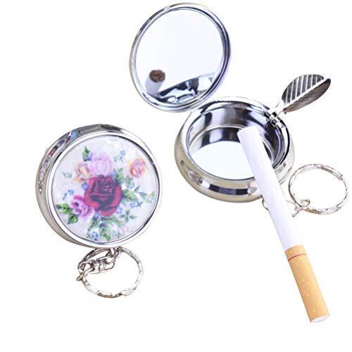 iwobi 2 Stücke Zigaretten Taschenascher Taschenaschenbecher Reise Aschenbecher Mini Aschenbecher Schlüsselanhänger für Reise Unterwegs (Zufallsmuster)