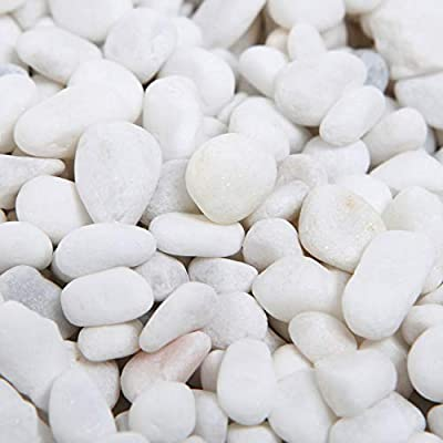 MyGift 8-lbs Mini White Synthetic River Pebbles, Decorative Accent Vase Fillers, 0.20 to 0.63-inch Stones