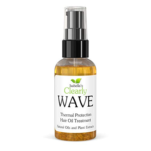 Isabella's Clearly WAVE, Damage Control Hair Oil with Jojoba and Olive | Thermal Heat Protector for Sun, Flat Iron, Hot Blow Dry, Blowout | Prevent Damage and Breakage | 100% Natural, Sulfate Free