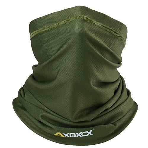 AXBXCX Neck Gaiter Elastic Seamless Moisture Wicking Fishing Face Mask Non Slip Breathable Sun Dust Wind UV Protection Headband Bandana for Men Women Green 006