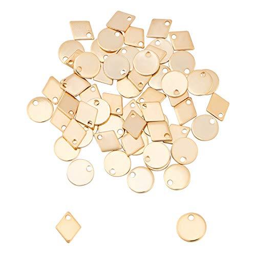 UNICRAFTALE 約60個 2種 ジオメトリ チャーム 304ステンレス チャーム タブチャーム 幾何 チャーム 菱形 円形 ゴールデン タブパーツ メタルチャーム 金属チャーム 金属パーツ ネックレスパーツ ジュエリー作り ネックレスブレスレットピ