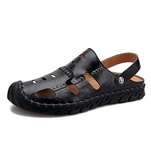 Yaunli - Sandalias para hombre, antideslizantes, antideslizantes, de verano, para senderismo, deportes, al aire libre, para jardín, zapatos cerrados, 2 colores, pu, marrón, 41