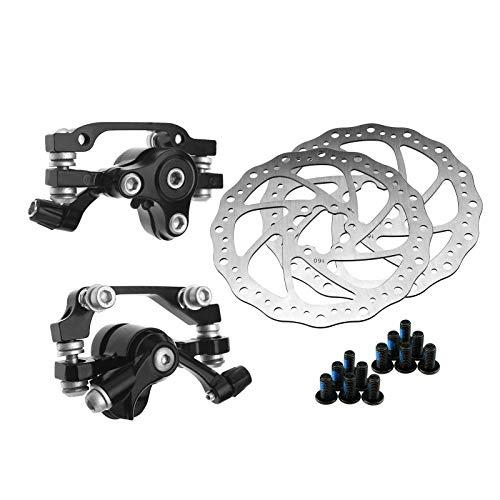 Mechanische Bremsscheibe, 160 mm + mechanischer Scheibenbremsen-Bremssattel für vorne und hinten, für Bergwege, 2 Stück
