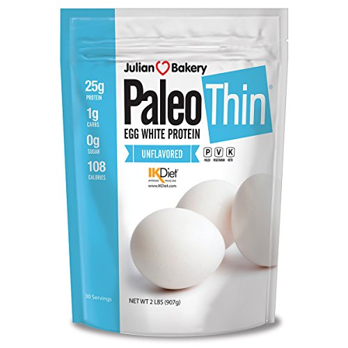 Julian Bakery Paleo Thin Protein Powder | Egg White | Unflavored | 25g Protein | Soy-Free | GMO-Free | 2 LBS | 30 Servings