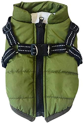 DRKFOP Canine Wear - Chaleco de invierno impermeable para uso canino, uso canino, uso canino, con arnés (color: verde, tamaño: L)