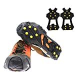 hemao 1 Pair 10 Studs Ice Snow Grips,Ice Grippers Non Slip Ice&Snow Grips,Snow Traction Cleats Only For Outdoor Activities,Walking,Fishing,Jogging Hiking (S)