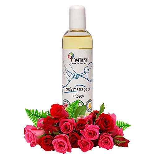 Verana Olio Per Massaggi Rose, Naturale, Senza OGM, Per il Corpo, Tonifica, Nutre e Idrata Anticellulite, Ripristina il Sistema Nervoso, Massaggio rigenerante e rivitalizzante, Aromaterapia 250ml