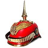 AnNafi Red German Pickelhaube Helmet | Leather...