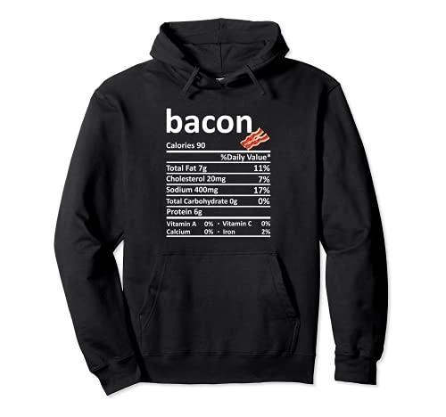 Bacon Nutricin Informacin Alimentaria Disfraz de Accin de Gracias Navidad Sudadera con Capucha