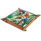 Bandeja organizadora de Catchall valet para hombres y mujeres llaves para limpieza de monedas de mesa para oficina en casa Flor de pájaros de hojas de palma, tropical