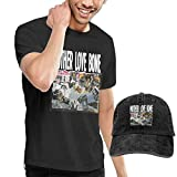 Photo de HQSL Ensemble de Chapeau de Cow-Boy de Baseball à Manches Courtes pour Hommes Men's Mother Love Bone T Shirts Washed Denim Baseball Dad Hat Black par