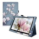 kwmobile Hülle kompatibel mit Sony Xperia Tablet Z4 - Slim Tablet Cover Hülle Schutzhülle mit Ständer Magnolien Taupe Weiß Blaugrau