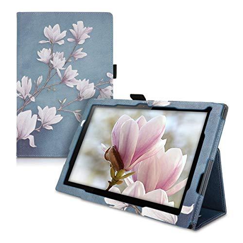 kwmobile Custodia Compatibile con Sony Xperia Tablet Z4 - Cover Tablet con Supporto - Copertina in Pelle PU Smart Case con Stand - Magnolie Marrone Grigio/Bianco/Grigio Blu