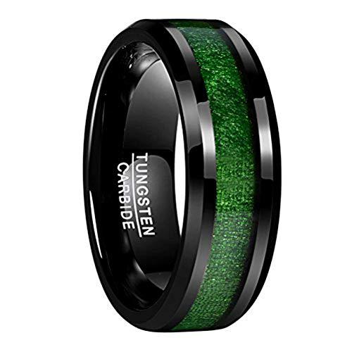 NUNCAD Schwarz Ringe mit Holz aus Wolframcarbid Herren Damen Hochzeitsring Partnerring Größe 66 (21.0)