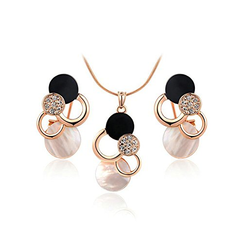 Yoursfs - Set di orecchini e collana, placcati in oro rosa, da donna, con strass bianchi e neri e Placcato oro, colore: Earring Necklace Set, cod. S845R1-UK