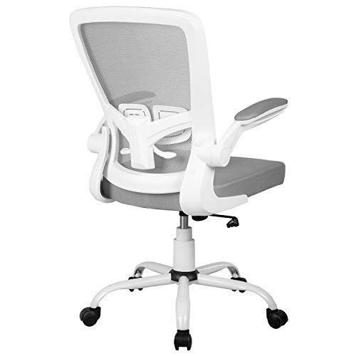 Ergonomic Office Chair Desk Chair Mesh Computer Chair with Lumbar Support Flip Up Arms Swivel Rolling Adjustable Mid Back Computer Chair for Women Men Adults,Black