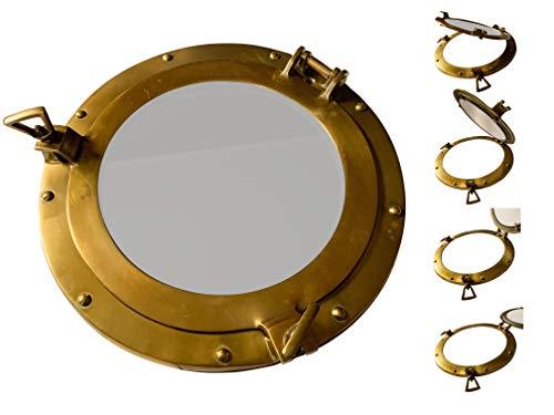 Sea-Club Espejo de ojo de buey – barco ojo de buey con espejo – puerta empotrable – náutico, marítimo, nostálgico aluminio en aspecto de latón antiguo (aspecto de latón, metal)