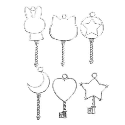 DIY Fertigkeit-Charme Silver Key öffnen Lünette Anhänger-Zink-Legierung UV Resin Rahmen Anhänger 6pcs DIY Zubehör für Mädchen Teens Geschenke