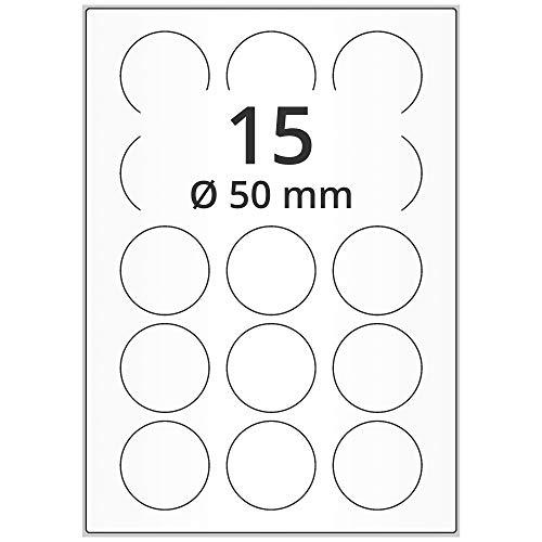 Labelident Universal Etiketten rund weiß - Ø 50 mm - 1500 Papieretiketten selbstklebend auf 100 DIN A4 Bogen, matt