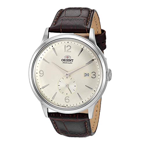Orient Men's Bambino Small Seconds Stainless Steel Japanese-Automatic Watch with Leather Strap, Brown, 20 (Model: RA-AP0003S10A)