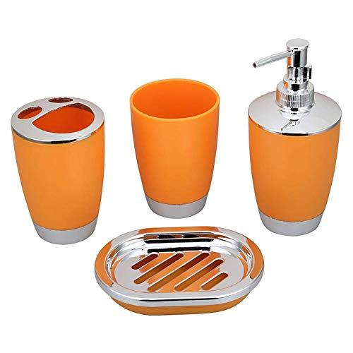 Komopesu Bathroom Accessory Set, 4 Pieces of Plastic Bathroom Accessory Set, Toothbrush Holder, Toothbrush Cup, Soap Dispenser, Soap Dish