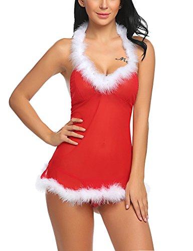 ADOME Damen Reizwäsche Sexy Weihnachten Dessous Set Babydoll Erotik Nachtwäsche Nachtkleid Unterwäsche Lingerie Negligee