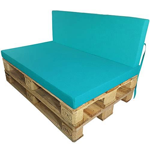 DILUMA Coussins pour Palette Europe Outdoor de proheim - À choissir Coussin d'assise ou de Dossier (Pas Un Set!) pour Sofa en Palette, Couleur:Turquoise, Variable:1 Coussin de Dossier 120 x 40 cm