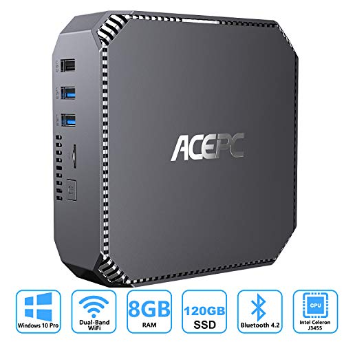 ACEPC Mini PC,Intel Celeron J3455,Windows 10 Pro Mini Computer,8GB RAM/120GB mSATA SSD,4K HD Graphics,Gigabit Ethernet,Dual Band Wi-Fi,Bluetooth 4.2