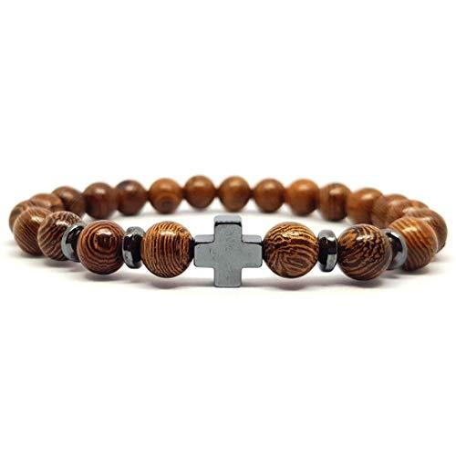 KARDINAL WEIST Holzperlen Kreuz Armband, Schmuck für Damen und Herren, GLAUBE LIEBE HOFFNUNG (Typ 1)