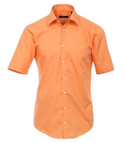 Venti Hemd Orange Uni Kurzarm Slim Fit Tailliert Kentkragen 100% Feinste Baumwolle Popeline Bügelfrei 37