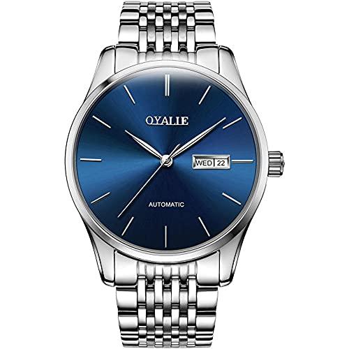 Relojes Hombres Reloj con Correa de Acero Inoxidable Relojes de Pulsera Impermeables para Hombres de Negocios Hombres -A