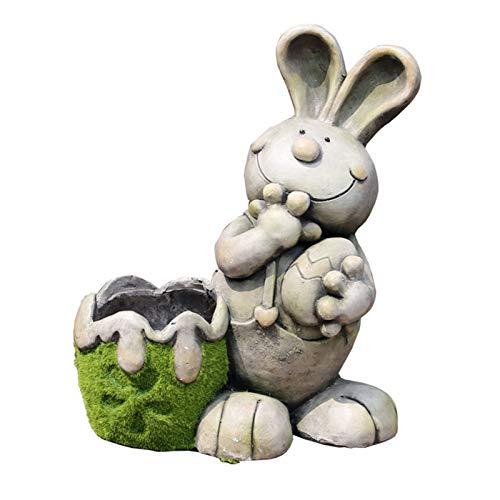 Statue Planter Urn Home Garden Decor Sculpture Decorations Art Craft Garden Flowerpot Sculpture Rabbit Flowerpot Cartoon Animal Sculpture (Size : 48-2438cm)