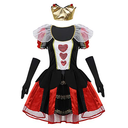CHICTRY 3 Pcs Donna Costume Regina di Cuori Costume Queen - Halloween Carnevale Ntale Party Queen Red Dress Gioco di Ruolo Costume da Regina Rossa Cosplay Nero Medium