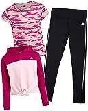 RBX Girls' Active Pants Set – 3 Piece Fleece Hoodie, Performance Tee, and Leggings Kids Clothing Set (Little Girl/Big Girl), Size 10/12, Berry Petal/Delicate Pink'