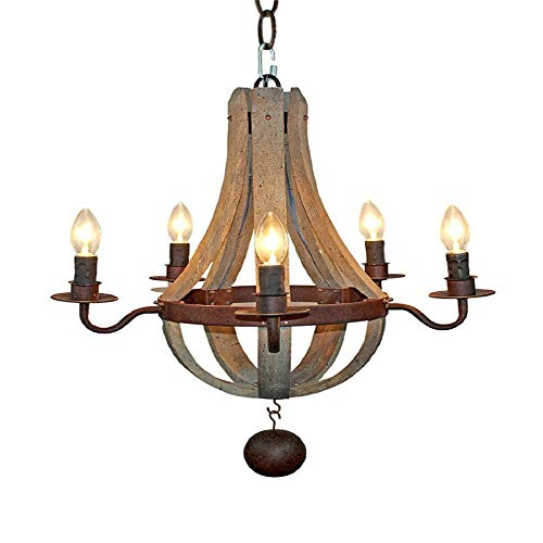Lamp Hold Rustikaler Vintage-Kronleuchter Aus Eisen Aus Holz Im Vintage-Stil / 5-Licht-Kandelaber-Kronleuchter Aus Distressed-Holz Bar-Restaurant