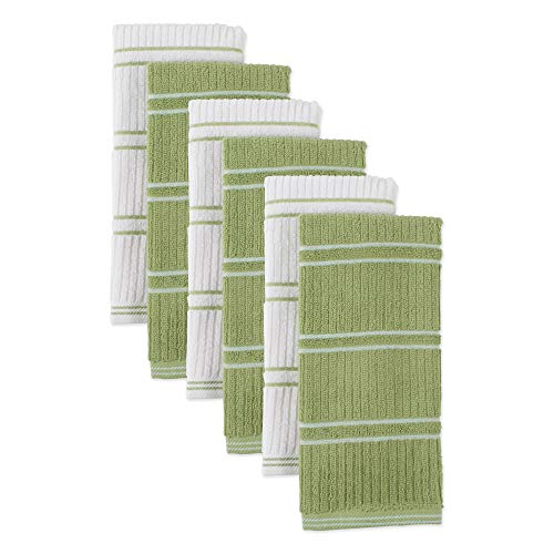 Ribbed Terry Kitchen Dish Towels (16x26' Set of 6 - Assorted Green & White) Absorbent & Durable for Wiping Down Countertops, Dusting, or Drying Dishes